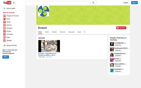 Screenshot of YouTube Page youtube.com - Sunipod  - YouTube - captured Oct. 26, 2014
