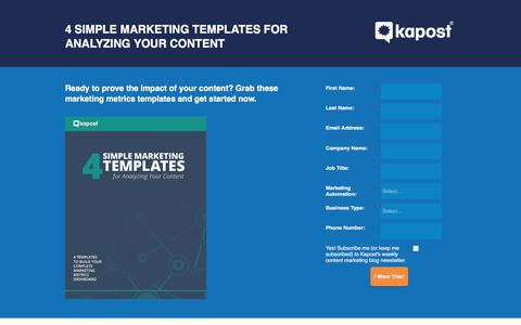 Screenshot of Landing Page kapost.com - 4 Simple Marketing Templates for Analyzing Your Content - captured April 20, 2016