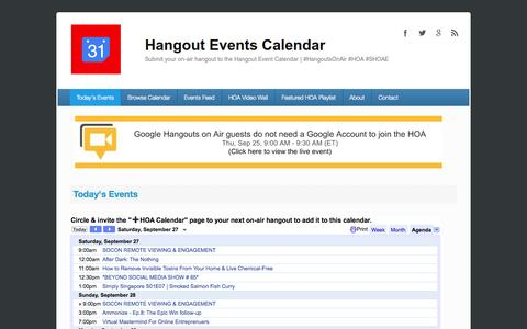 Screenshot of Home Page hangouteventscalendar.com - Today's Events | Hangout Events Calendar - captured Sept. 27, 2014