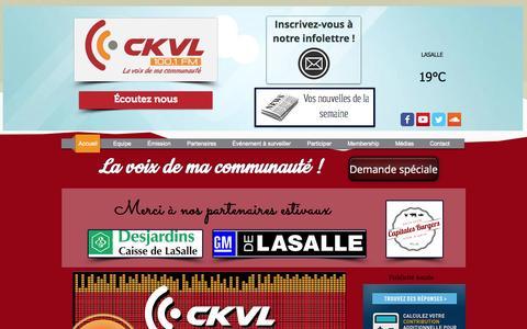 Screenshot of Home Page 100-1fm.com - ckvl - captured June 21, 2015