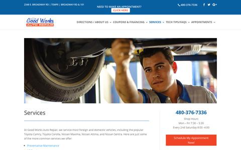 Screenshot of Services Page goodworksautorepair.com - Auto Repair Services   Good Works Auto Repair Tempe - captured Aug. 28, 2017