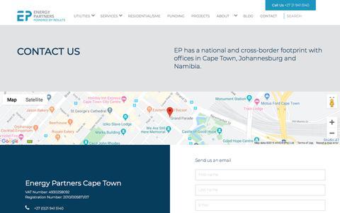 Screenshot of Contact Page energypartners.co.za - Contact Energy Partners | Energy Partners - captured Nov. 16, 2019