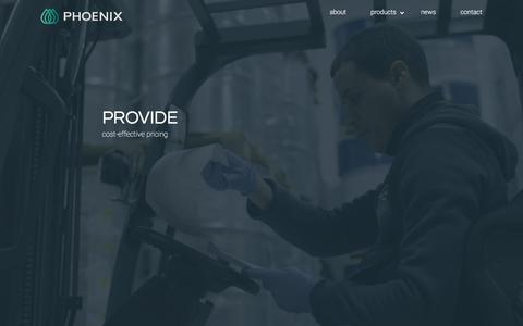 Screenshot of Home Page phoenixaromas.com - Phoenix - Ingredients, Fragrances and Flavors - captured Sept. 11, 2019