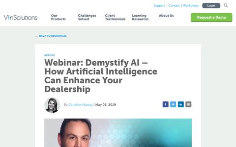 Screenshot of Blog vinsolutions.com - VinSolutions - Webinar: Demystify AI – How Artificial Intelligence Can Enhance Your Dealership - captured Dec. 3, 2019