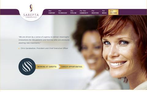 Screenshot of Team Page sarepta.com - Join Our Team | Sarepta Therapeutics - captured Oct. 4, 2014