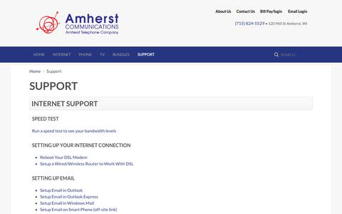 Screenshot of Support Page wi-net.com - Support - Amherst Telephone Company, Amherst Communications - captured Oct. 3, 2018
