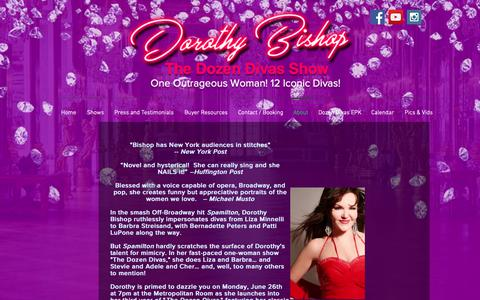 Screenshot of About Page dorothybishop.com - About Dorothy Bishop - The Dozen Divas Show - captured Oct. 25, 2018