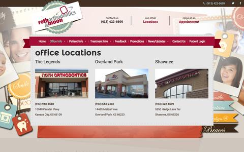 Screenshot of Locations Page rothmoonortho.com - Office Locations - Roth & Moon Orthodontics - captured Oct. 26, 2014