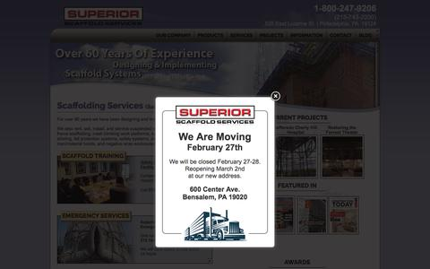 Screenshot of Home Page superiorscaffold.com - Superior Scaffold Services | The Leader in Scaffold Services - captured Feb. 17, 2020