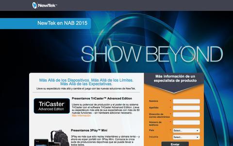 Screenshot of Landing Page newtek.com - NewTek at NAB - captured May 6, 2016