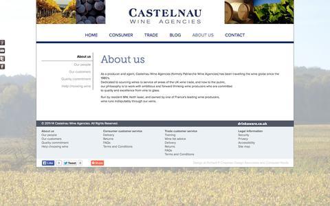 Screenshot of About Page castelnau.co.uk - Castelnau Wine Agencies | About us - captured Oct. 2, 2014