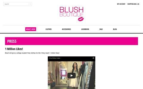 Screenshot of Press Page shopblush.com - Shop Blush Boutique - Womens Fashions - Miami Florida : Blush Boutique Miami – ShopBlush.com - captured Feb. 7, 2016