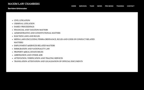 Screenshot of Services Page maxlaw.co.uk - MAXIM LAW CHAMBERS - captured Oct. 17, 2018