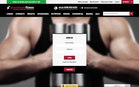 Screenshot of Login Page powerhouse-fitness.co.uk - Customer Login at Powerhouse Fitness - captured April 14, 2016