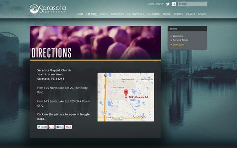 Screenshot of Maps & Directions Page sarasotabaptist.com - Directions - captured Feb. 4, 2016