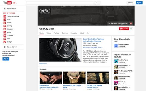 Screenshot of YouTube Page youtube.com - On Duty Gear  - YouTube - captured Oct. 28, 2014