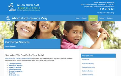 Screenshot of Services Page willowdentalcareabbotsford.com - Services Offered at Willow Dental Care Abbotsford - captured Oct. 7, 2017