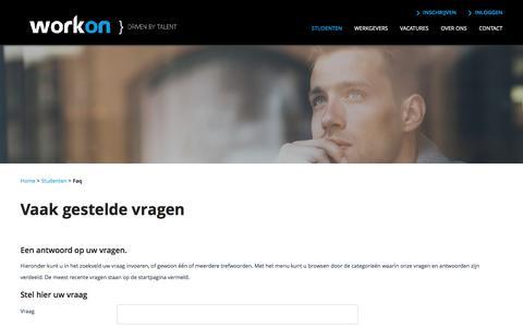 Screenshot of FAQ Page work-on.nl - Work-on - captured Dec. 18, 2016