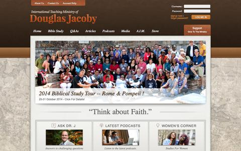 """Screenshot of Home Page douglasjacoby.com - DouglasJacoby.com - Christian Evidences, Bible Studies and Literature - """"Think About Faith"""" - captured Oct. 6, 2014"""