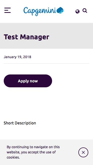Screenshot of Jobs Page  capgemini.com - Test Manager – Capgemini India