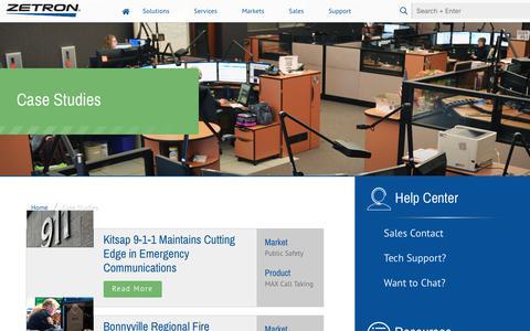 Screenshot of Case Studies Page zetron.com - Case Studies - Zetron - captured Sept. 20, 2018