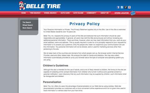 Screenshot of Privacy Page belletire.com - Belle Tire Privacy Policy | Belle Tire Facts | Belle Tire, Inc - captured Sept. 25, 2014