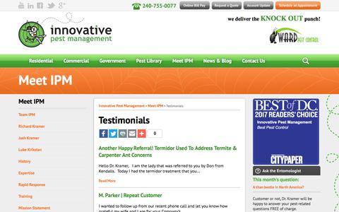 Screenshot of Testimonials Page ipm4u.com - Testimonials - Innovative Pest Management - captured Oct. 15, 2017