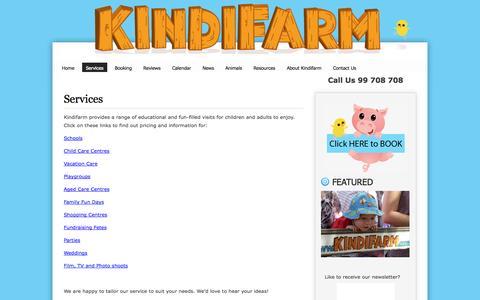 Screenshot of Services Page kindifarm.com - Services » Mobile Animal Farm Sydney - Petting Zoo Hire | Kindifarm.com - captured Sept. 30, 2014