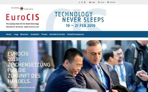 Screenshot of Home Page eurocis.com - EuroCIS - The Leading Trade Fair for Retail Technology - -- EuroCIS Messe - captured Sept. 24, 2018
