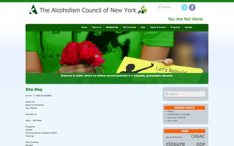 Screenshot of Site Map Page alcoholism.org - Site Map   Alcoholism Council of New York - captured Oct. 4, 2014