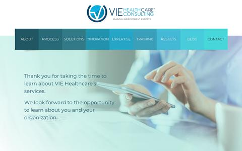Screenshot of Contact Page viehealthcare.com - Contact - captured July 9, 2019