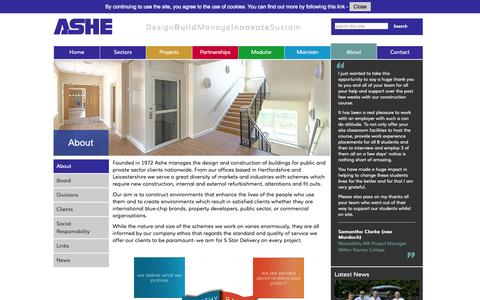 Screenshot of About Page asheconstruction.co.uk - About - ASHE - captured Oct. 4, 2014