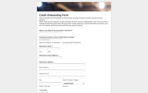 Credit Onboarding Form