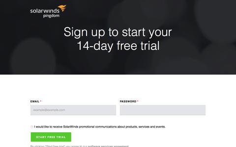 Screenshot of Signup Page Trial Page pingdom.com - Pingdom - Signup secure - captured Dec. 12, 2019