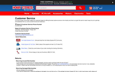 Screenshot of Support Page hobbyexpress.com - Hobby Express Customer Support Home RC Plane Models - captured July 15, 2016