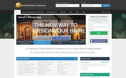 Screenshot of Home Page nationalrealestatecommerce.com - National Real Estate Commerce | Real Estate Professional's #1 Resource for Business Solutions - captured Sept. 30, 2014