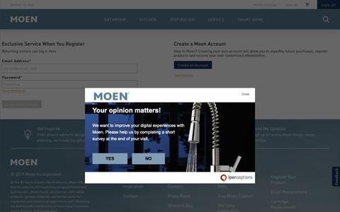 Screenshot of Login Page moen.com - Login - captured March 6, 2019