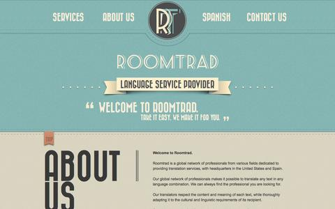 Screenshot of About Page Contact Page Services Page roomtrad.com - Roomtrad Traducciones - captured Oct. 6, 2014