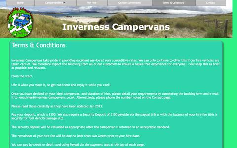 Screenshot of Terms Page inverness-campervans.co.uk - Terms & Conditions - captured Oct. 27, 2014