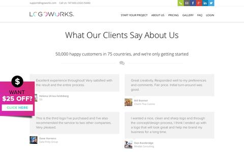 Screenshot of Testimonials Page logoworks.com - Testimonials - Logoworks   Professional Logo Design, Website Design, and much, much more - captured June 16, 2015