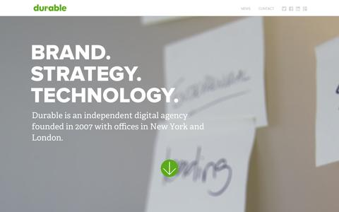Screenshot of Home Page durabledigital.com - Durable Digital | Brand. Strategy. Technology - captured Sept. 30, 2014