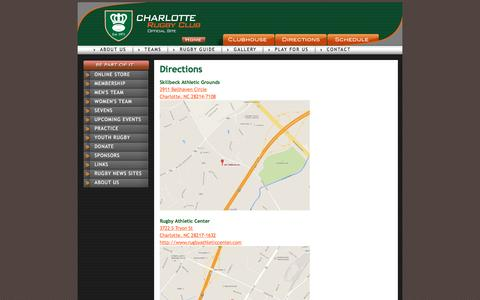 Screenshot of Maps & Directions Page charlotterugby.com - Directions - captured Jan. 27, 2016