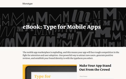 Screenshot of Landing Page monotype.com - Type for Mobile Apps eBook   Monotype - captured Oct. 23, 2016