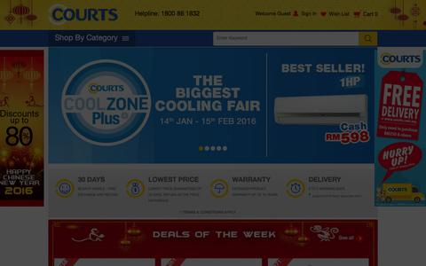 Screenshot of Home Page courts.com.my - Online Shopping Malaysia --Electronics, Mobiles, Home Appliances, Furnitures at Courts.com.my - captured Jan. 23, 2016
