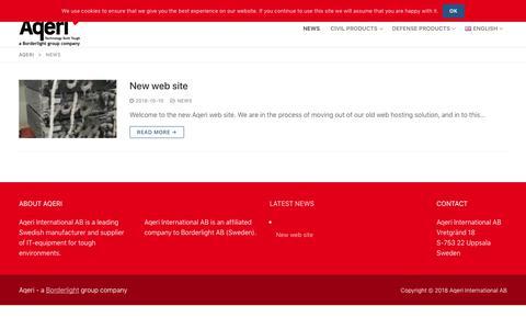 Screenshot of Press Page aqeri.com - News – Aqeri - captured Nov. 6, 2018