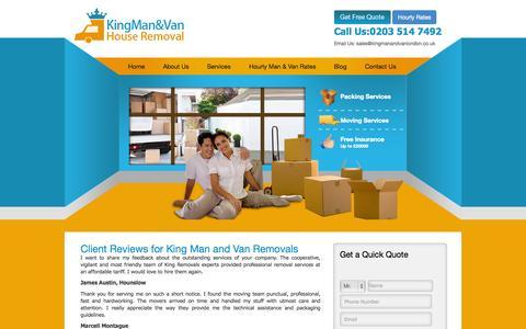 Screenshot of Testimonials Page kingmanandvanlondon.co.uk - Testimonials   King Man And Van - captured Nov. 1, 2014