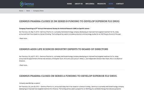 Screenshot of Press Page gemmuspharma.com - Company News - captured Sept. 16, 2014