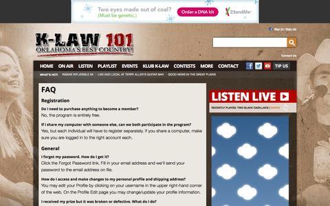 Screenshot of FAQ Page klaw.com - K-LAW 101 – Oklahoma's Best Country – Lawton Country Radio - captured Jan. 17, 2016