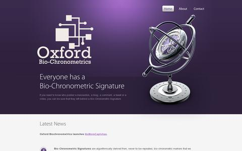 Screenshot of Home Page oxford-biochron.com - Oxford Bio-Chronometrics - captured July 11, 2014