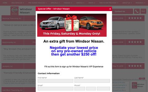 Screenshot of Testimonials Page windsornissan.com - Customer Reviews, Testimonials - Windsor Nissan - captured Oct. 20, 2018